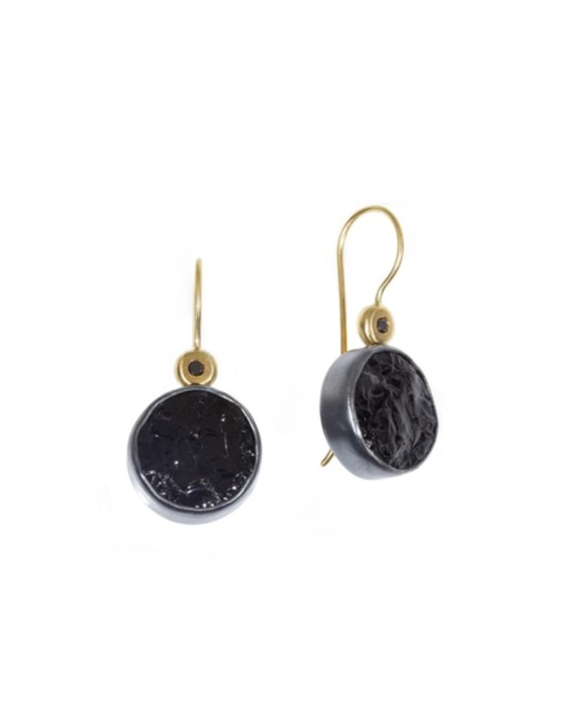 Black Diamond Round Black Tourmaline Earrings With Black Diamond In Oxidized Silver And 18k Yellow Gold