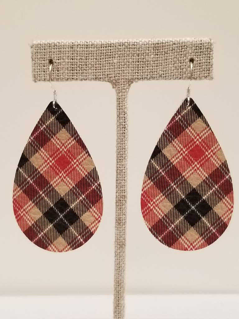 Plaid Taupe Darling Earrings Taupe Plaid