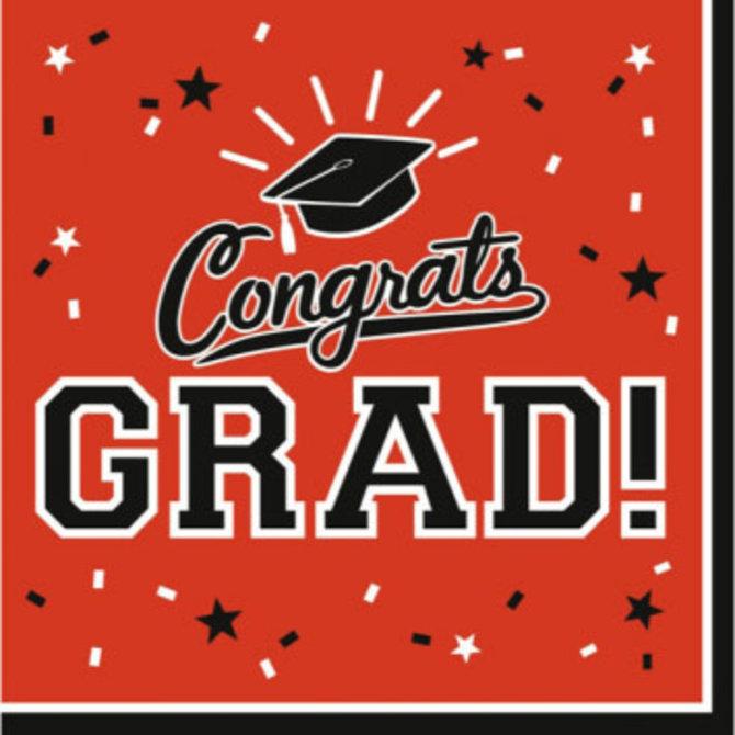 Orange Congrats Grad Lunch Napkins 36ct - POP! Party Supply