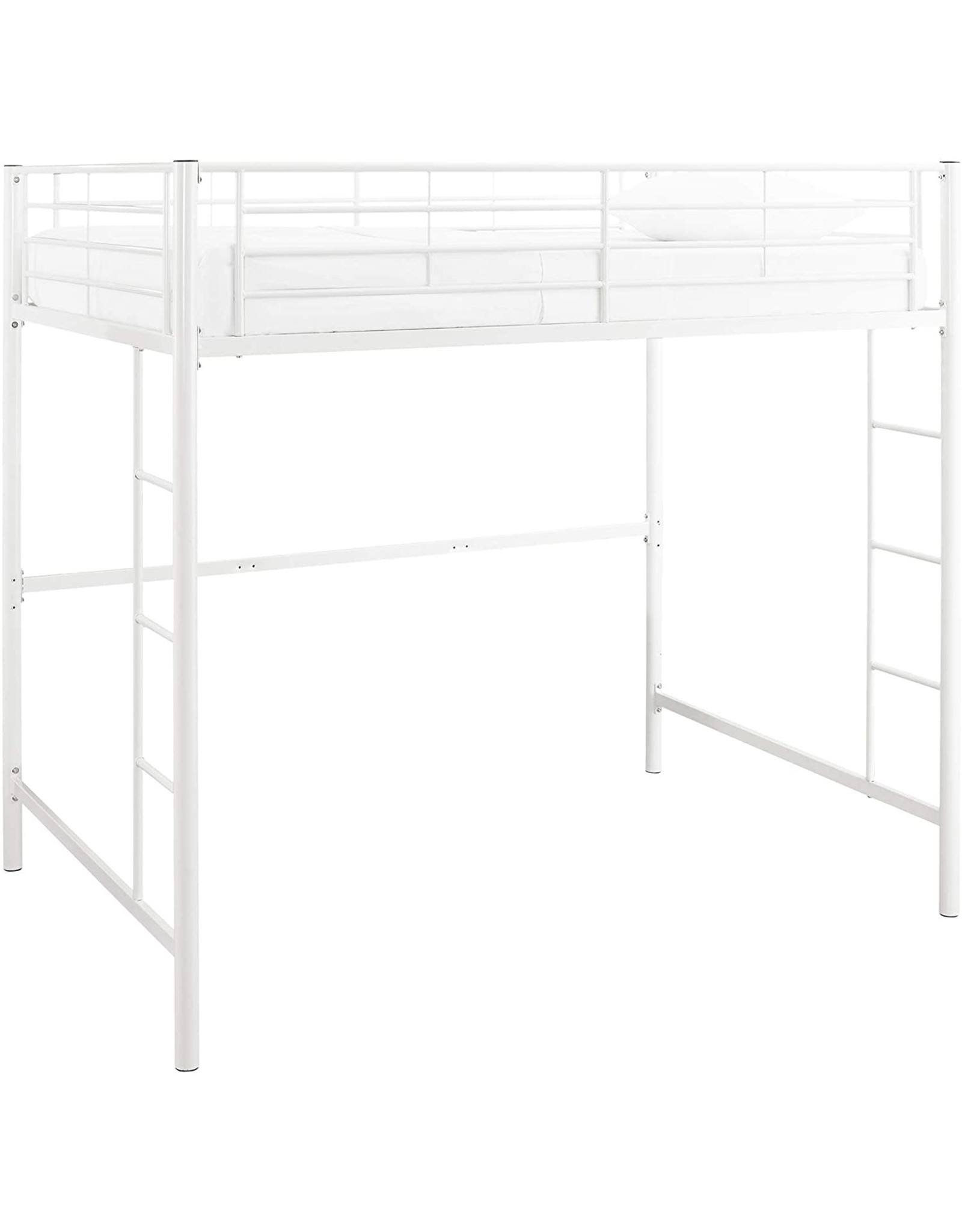 Walker Edison Furniture Company Walker Edison Furniture Modern Metal Pipe Full Double Size Loft Kids Bunk Bed Bedroom Storage Guard Rail Ladder White Abusa Buffalo