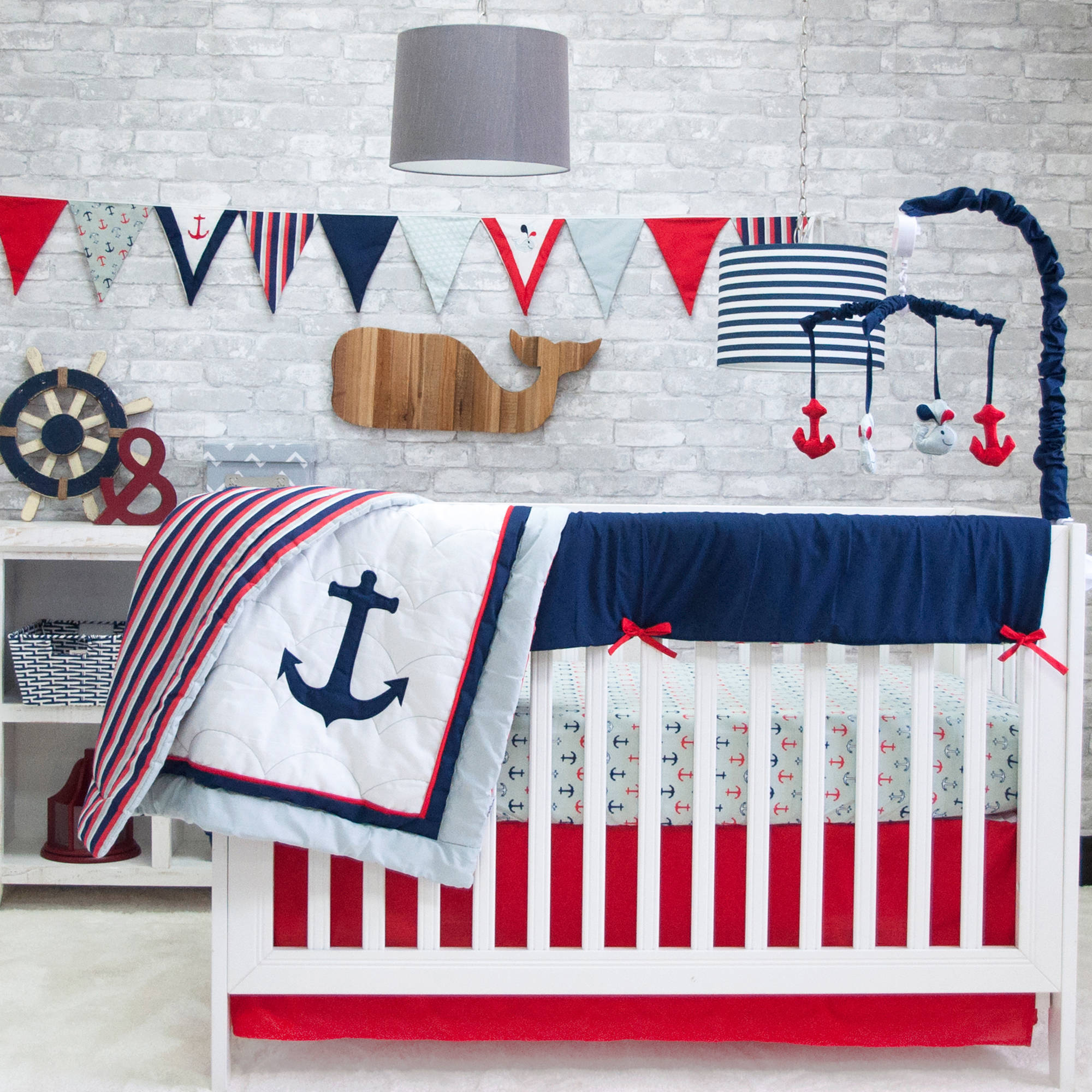 Full Crib Bedding Sets Details About Pam Grace Anchors Away 6 Piece Crib Bedding Set
