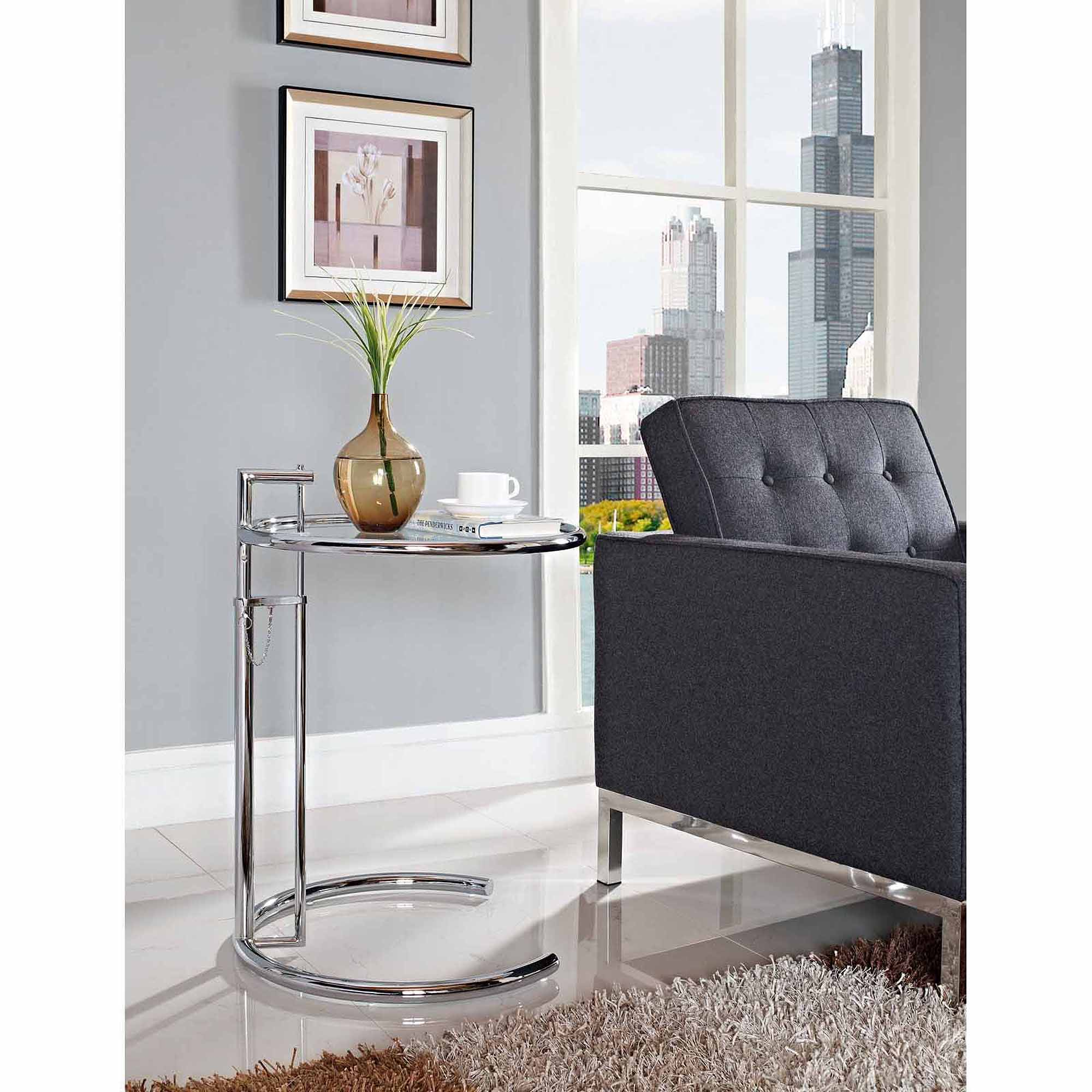 Eileen Gray Table Details About Modway Eileen Gray Adjustable Height Side Table In Silver