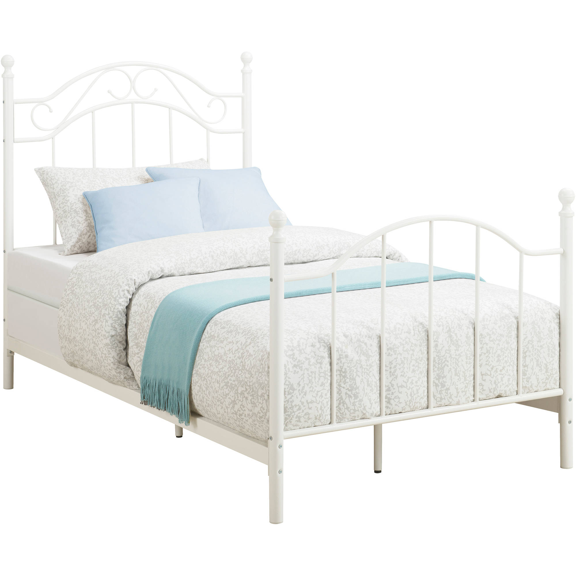 White Double Bed With Mattress Twin Metal Bed Daybeds Frame Footboard Headboard Girls