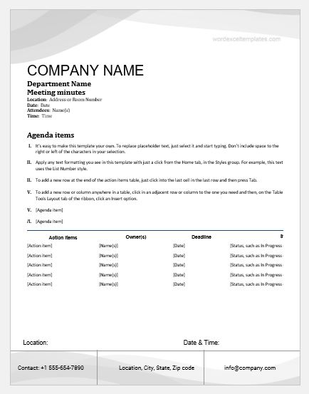 Formal Meeting Minute Templates for MS Word doc Word  Excel