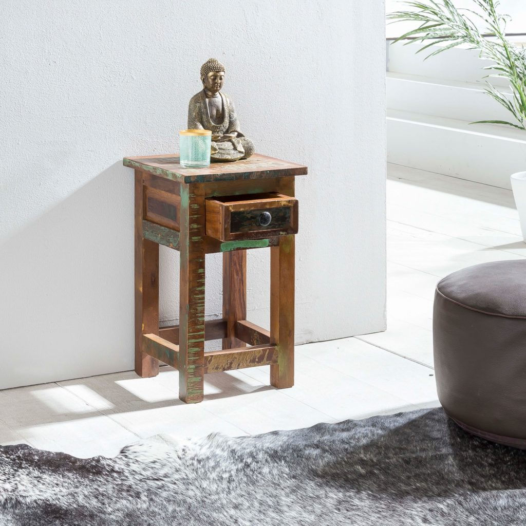Side Table Kalkutta 30 X 30 X 50 Cm Solid Wood Side Table With Shelf Thrust Night Commode Shabby Artkomfort