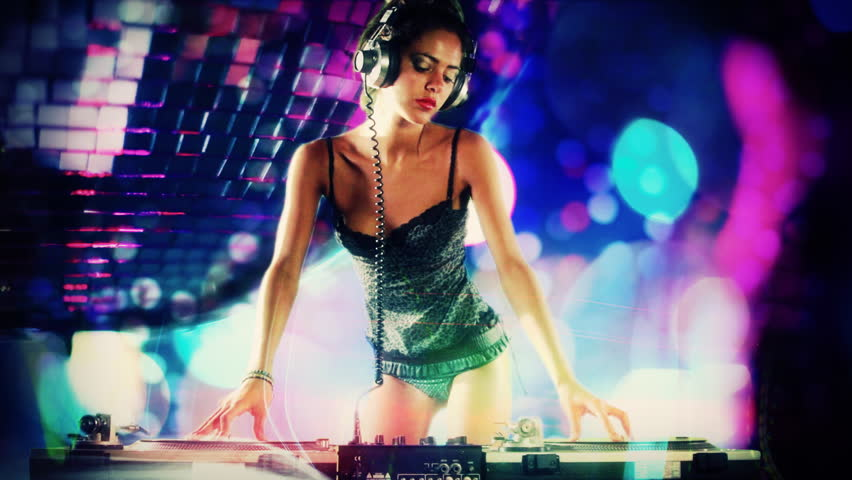 Girl Listening To Headphones Wallpaper A Sexy Female Dj Dancing And Playing Records With Disco