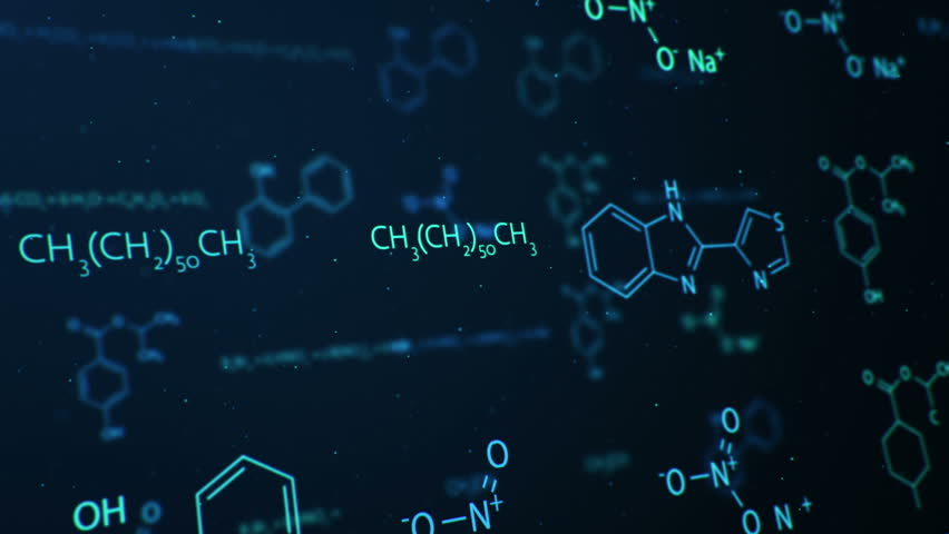 Chemistry 3d Wallpapers Cg Motion Graphic Of Science Diagrams On Blue Background