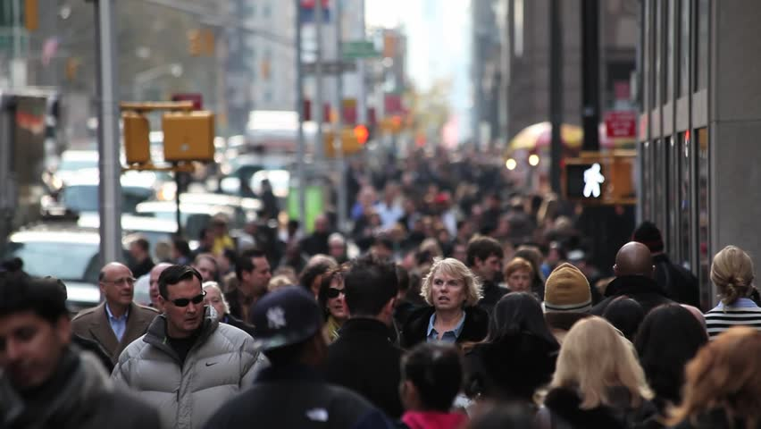 New England Fall Phone Wallpaper Anonymous Crowd Walking In New York City People Walking