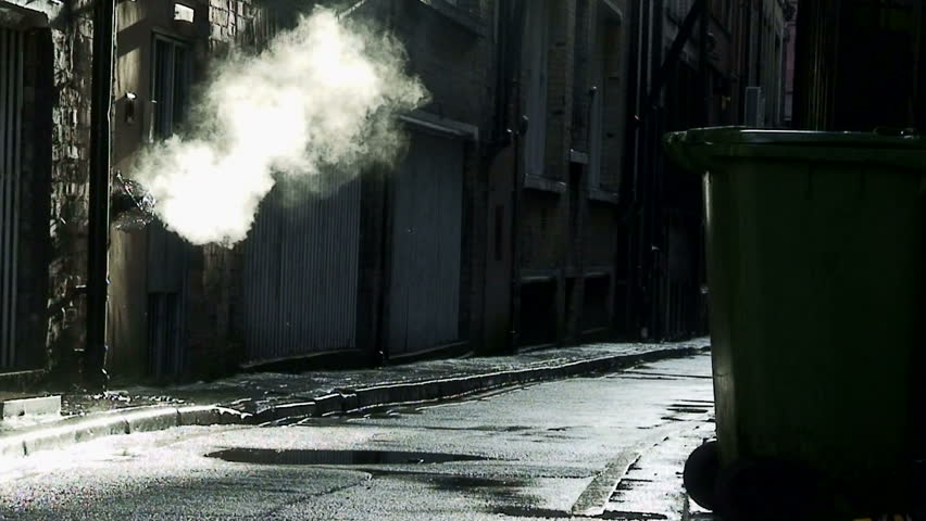 Wallpaper Of Girl Standing In Rain Steam Coming From Outlet In Dirty Dark Back Alley Stock