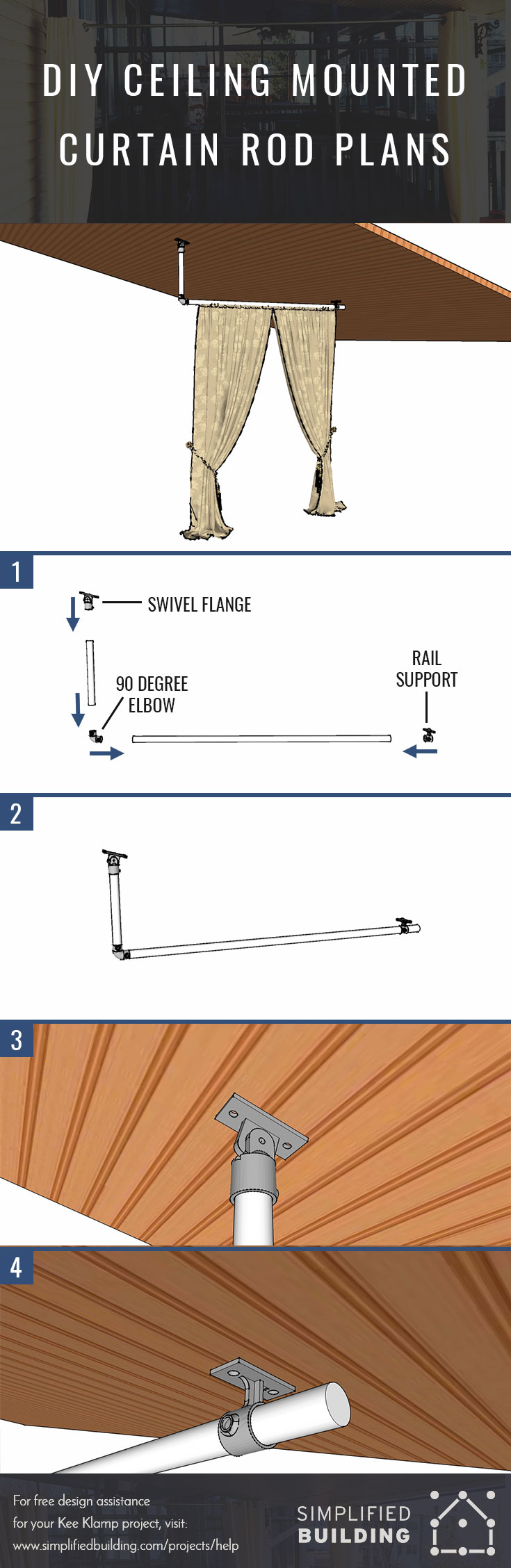 Mounting Curtain Rods Diy Ceiling Mounted Curtain Rods With Step By Step Instructions