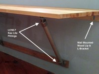 Wall Mounted Butcher Block Table Supported with Pipe
