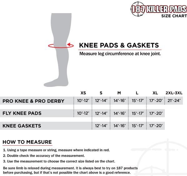 187 Killer Pads Size chart (Knee) SkatePro