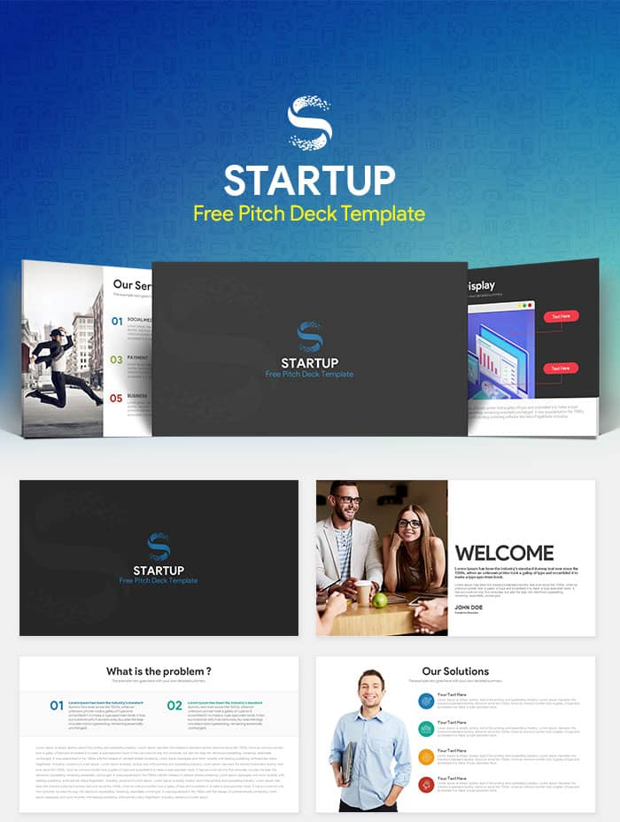Startup Free Pitch Deck PowerPoint Template - SlideCompass - business pitch powerpoint example