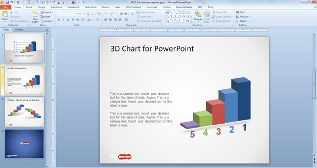 Free 3D Concept Bar Chart Design for PowerPoint - Free PowerPoint - bar chart template
