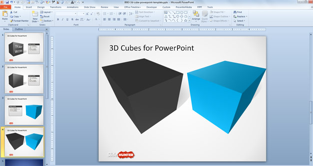 Free 3D Cube Shape for PowerPoint with Perspective - Free PowerPoint
