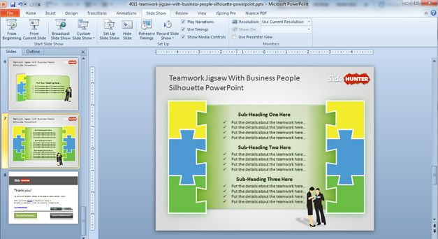 Free Teamwork PowerPoint Diagram with Jigsaw Illustration - Free - teamwork powerpoint