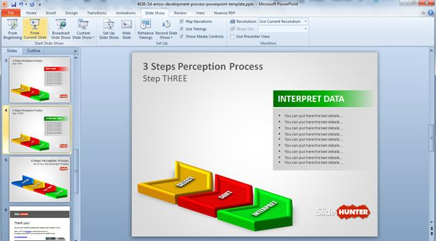 Free 3D Three Steps PowerPoint template - free powerpoint graphics templates