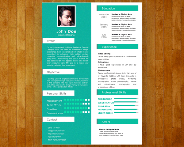 one slide resume template download
