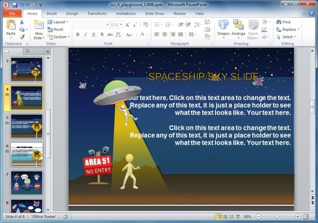Animated PowerPoint Template With Aliens And Spaceship