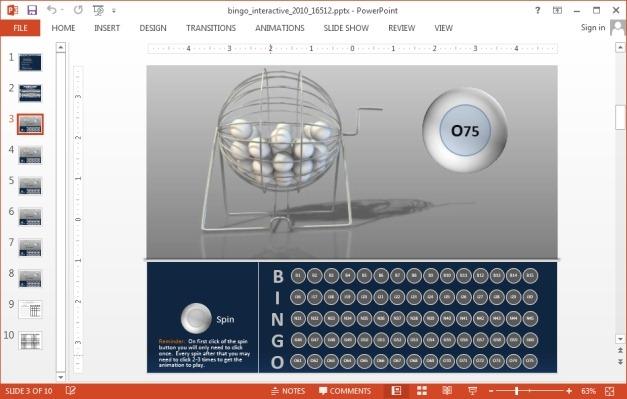 Interactive Bingo PowerPoint Template - interactive powerpoint template