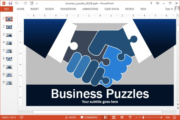 Business Jigsaw Puzzle Animated PowerPoint Template - puzzle powerpoint template