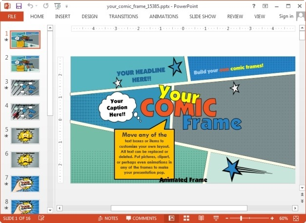 Animated Comic Book Template For PowerPoint