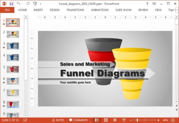 Animated Funnel Diagrams Template For PowerPoint - diagrams template