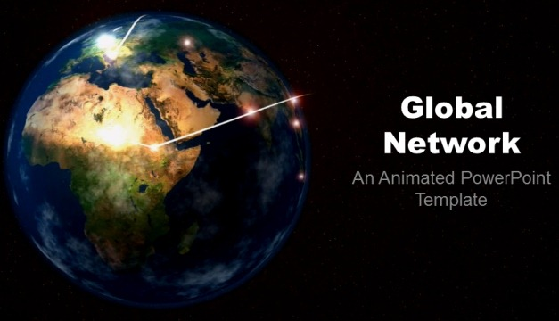 Animated Global Network Template For PowerPoint - global powerpoint template