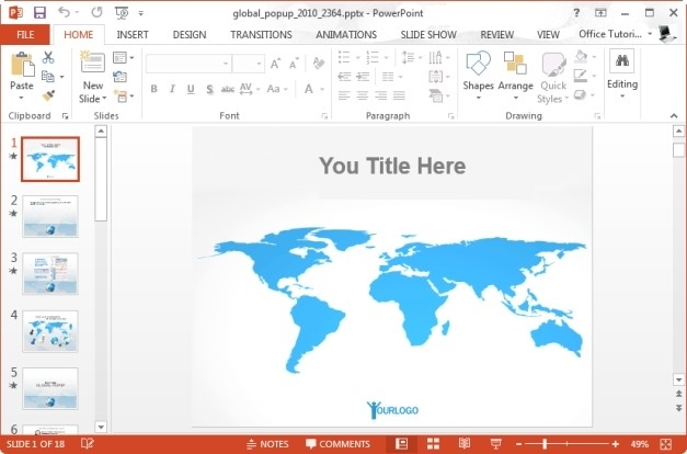 Flat World Map Template For PowerPoint