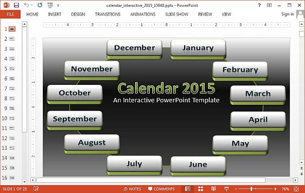 Interactive 2015 Calendar Template For PowerPoint - powerpoint calendar template
