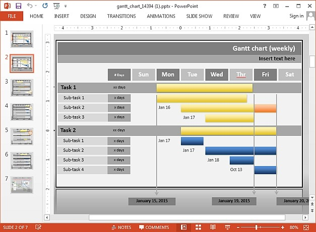 Project Management PowerPoint Template With Interactive Gantt Chart