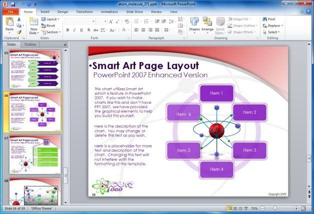 Animated Molecules PowerPoint Template - smartart powerpoint template