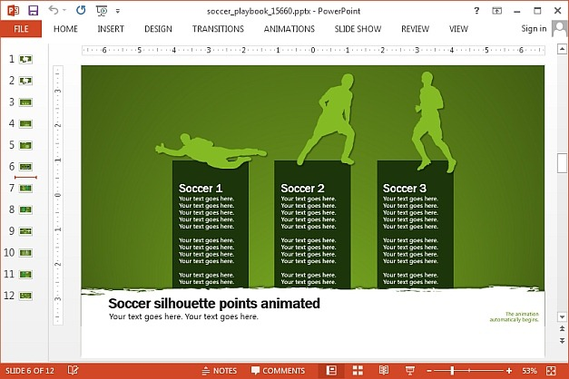 Soccer PowerPoint Template And Animations - football powerpoint template