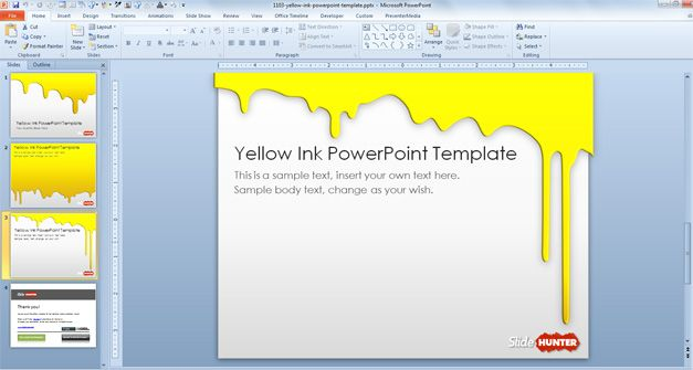 Free Yellow Ink PowerPoint Template - Free PowerPoint Templates