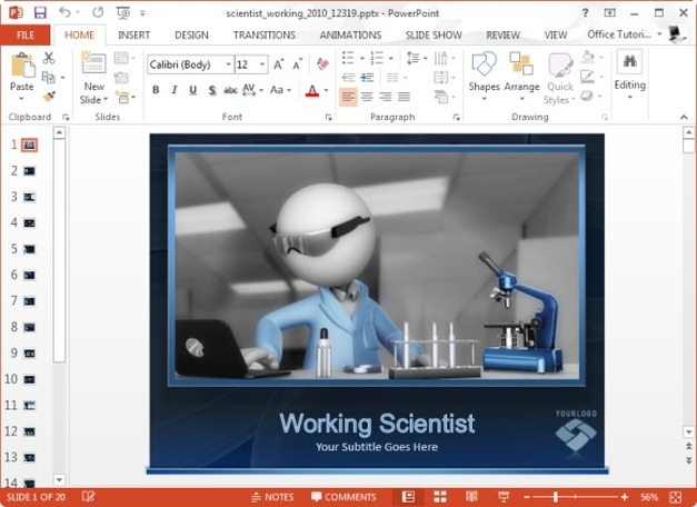 Animated Scientist PowerPoint Template For Scientific Presentations