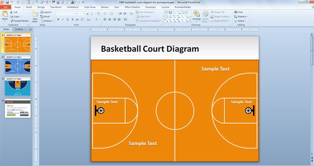 Free Basketball Court Diagram for PowerPoint - Free PowerPoint - basketball powerpoint template