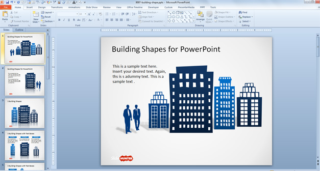 Free Office Building Shapes for PowerPoint - Free PowerPoint
