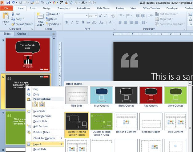 Free Quotes PowerPoint Layout Template - powerpoint 2010 templates