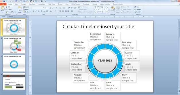 Free Circular Timeline PowerPoint Template - timeline slide powerpoint