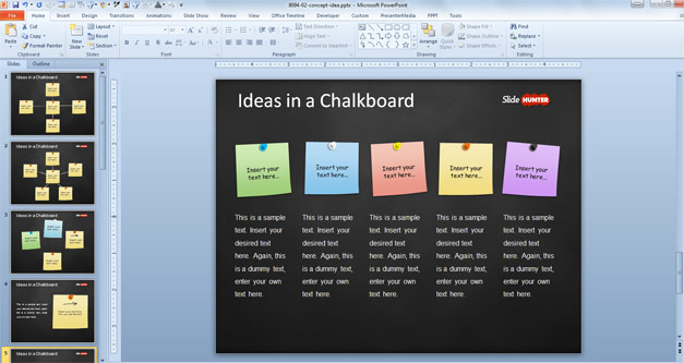 Free Concept Idea Presentation Template for PowerPoint with Post-It