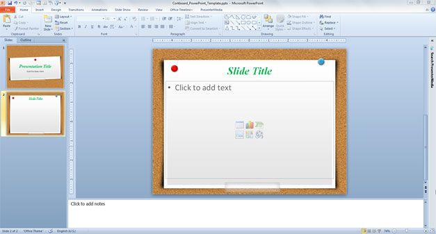 Free Corkboard PowerPoint Template - powerpoint calendar template