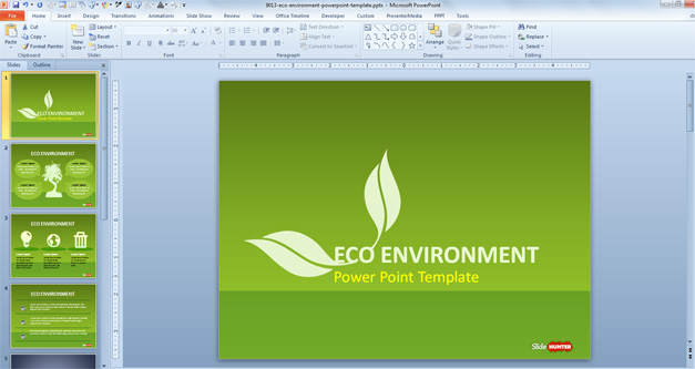 Free Green Sustainability PowerPoint Template - Free PowerPoint