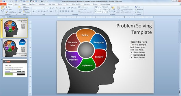 Plantilla PowerPoint con Cerebro para Resolución de Problemas Gratis - plantillas para power points