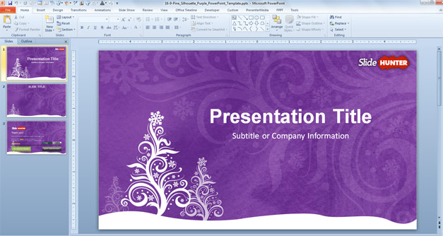 Free Purple Christmas PowerPoint Template - Free PowerPoint - christmas powerpoint template