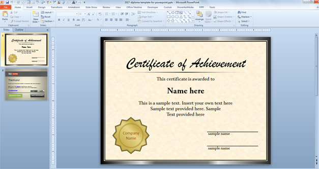Diploma Template for PowerPoint - powerpoint certificate template