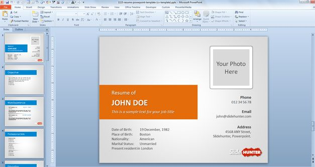 Free Resume PowerPoint Template (CV template) - Free PowerPoint - powerpoint resume example