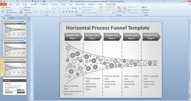 Free Horizontal Process Funnel PowerPoint Template - Free PowerPoint