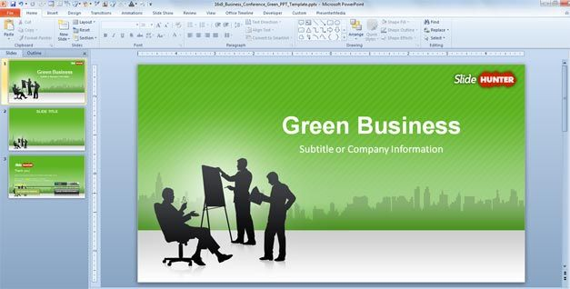 Free Business PowerPoint Template Green (169) - Free PowerPoint