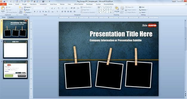 Free Widescreen Peg Grunge PowerPoint Template (169) - Free - free slide backgrounds for powerpoint