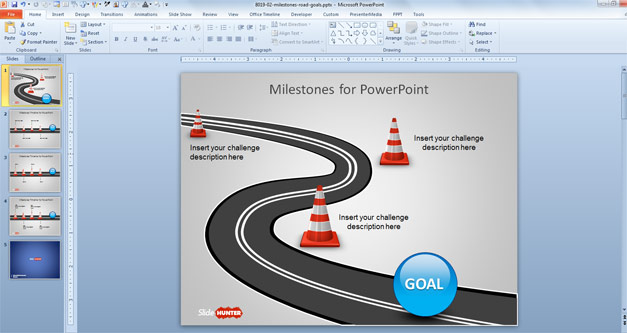 Free Milestone Shapes  Timeline for PowerPoint - Free PowerPoint